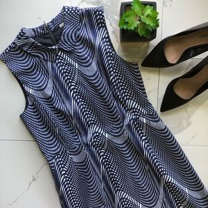 Halogen Blue and White Collared Dress